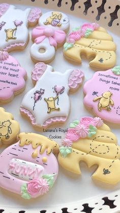 Baby Girl Cookies, Baby Shower Cookies, Girl Baby Shower Cakes, Baby Shower Desserts, Girl Baby Shower Decorations, Baby Shower Parties, Pooh Bebe, Royal Icing Cookies, Sugar Cookies