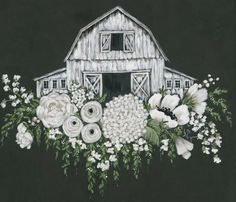 White Barn & Flowers Printed Canvas