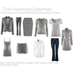 """""""Cool Wardrobe Essentials"""" by katestevens on Polyvore (these colors are closer to Pure Summer)"""