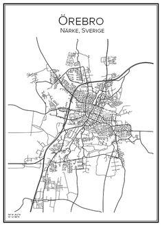 Örebro. Sverige. Karta. City print. Print. Affisch. Tavla. Tryck.