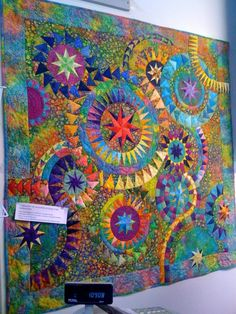 "Not my quilt. Seen on display at My Blue Bamboo in Plymouth, Minnesota (metro Minneapolis / St. Paul). Tagline says ""Colourful"" by Jacqueline de Jonge of the Netherlands."
