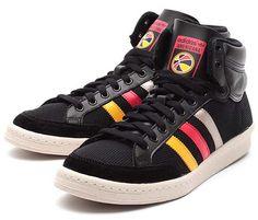 adidas Originals AMERICANA HI 88 [BLACK/SUNSHINE/VIVID RED] Q20354 Adidas Originals, The Originals, Adidas Shoes, Skate, High Tops, High Top Sneakers, Red, Sunshine, Black