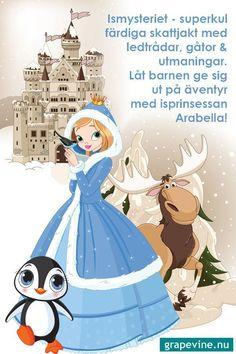 """Firafest.se Du sparade på Barnkalas 1 Färdig skattjakt med ledtrådar, gåtor och utmaningar. Låt barnen ge sig ut på ett äventyr i isprinsessans värld! Finns för barn i åldern 4-6 år och 7+. En skattjakt som """"gör"""" barnkalaset! #barnkalas # skattjakt #kalas #frostkalas #tema Mall, Cinderella, Disney Characters, Fictional Characters, Disney Princess, Kids, Escape Games, Escape Room, Christmas"""