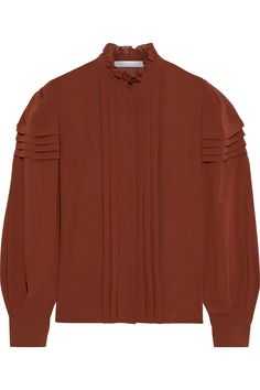 Brown Ruffle-trimmed pintucked georgette blouse | Sale up to 70% off | THE OUTNET | SEE BY CHLOÉ | THE OUTNET Coat Dress, Jacket Dress, Long Tops, Long Sleeve Tops, Dress Outfits, Fashion Dresses, Chloe Clothing, Beach Wear Dresses, See By Chloe
