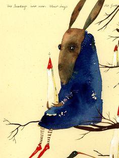 Piet Grobler This makes me smile :) People Illustration, Watercolor Illustration, Graphic Illustration, Artist Sketchbook, Rabbit Art, Funky Art, Art Corner, Fairytale Art, Art Graphique