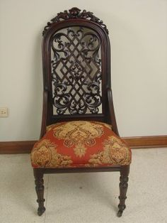 c1850 Rococo parlor chair, rosewood, 14-3h.