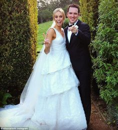 Wow: Sylvia Jeffreys wore a custom Rebecca Vallance gown during her lavish wedding to Pete...