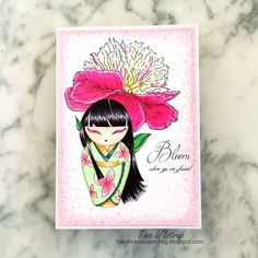 Kokeshi Dolls, Digi Stamps, Copic, Hello Everyone, All Design, Peonies, Cards, Coloring, Blog