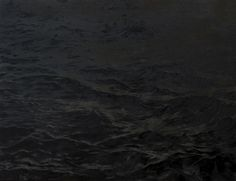 Justyna Smolen, Black I, oil on canvas, black painting, landscape, water, black water, modern landscape