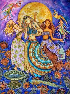 "Summer Solstice: ""Moon Dance, A Midsummer Celebration,"" by HollySierraArt. Dancing In The Moonlight, Psychedelic Art, Fantasy Kunst, Fantasy Art, Moon Dance, Van Morrison, Sacred Feminine, Goddess Art, Beltane"