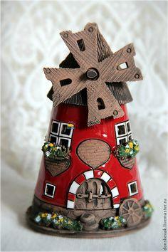 """Купить Домик-подсвечник из керамики """"Мельница"""" - ярко-красный, мельница, подсвечник, подсвечники, домик, домики"""
