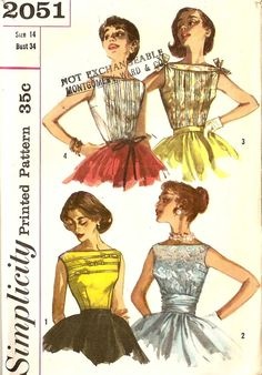 Vintage 1950s Blouse Simplicity Pattern 2051 BOHO Sleeveless. $12.75, via Etsy.