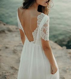 Beach – Luna Bride Bateau Wedding Dress, Lace Beach Wedding Dress, Open Back Wedding Dress, Lace Wedding Dress With Sleeves, Couture Wedding Gowns, Bohemian Wedding Dresses, Elegant Wedding Dress, Wedding Bridesmaid Dresses, Bridal Gowns