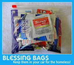 I absolutely love this idea! Ran across it on Facebook! All Things With Purpose: Blessing Bags for the Homeless {to Keep in Your Car} Using Dollar Store Items