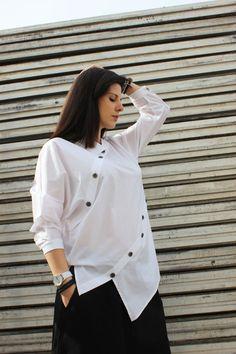 FREE SHIPPING White Asymmetric Shirt / Extravagant by Fraktura