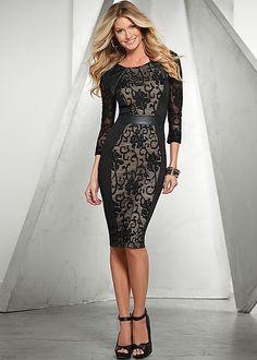 Printed sweater dress, peep toe heel in the VENUS Line of Dresses for Women