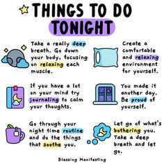 Here's your to-do list for tonight. Take a few deep breaths. Relax your body. Let your mind rest. Things To Do Tonight, Self Care Bullet Journal, Self Care Activities, Self Improvement Tips, Self Love Quotes, Self Care Routine, Coping Skills, Mental Health Awareness, Me Time