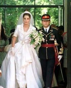 Prince Abdullah of Jordan and Princess Rania at their wedding ~ now the  King & Queen