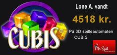 En af dagens heldige vindere på vores 3D spilleautomat CUBIS.  Du spille CUBIS med 2.000 kr. bonus her: http://www.mrspil.dk/spilleautomater/  eller læse mere om 3D spilleautomaten her: http://blog.mrspil.dk/spilleautomat-3d-spil-cubis-hos-mr-spil/