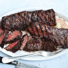 Salt-and-Pepper Steak Recipe Use leftovers in: 1) Tacos: sauté onions and crushed red pepper flakes in a cast iron pan - no oil, so they get all smoky - then add slices of day after skirt steak and cook until crisp. 2) Sandwich with paprika spiked mayo, onions, fresh herbs