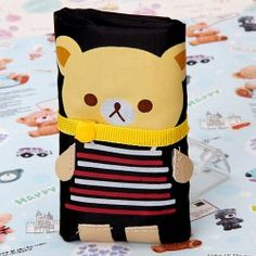 Economical Black Hand Bag with Lovely Striped Bear Pattern for Carrying Gadgets - Black Black Wallet, Drink Sleeves, Gadgets, Bear, Handbags, Pattern, Totes, Patterns, Bears