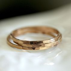 14k Gold Hammered Stacking Rings - praxis jewelry