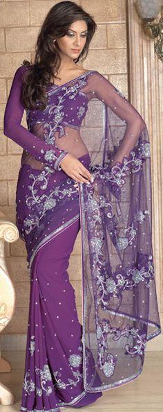 Purple Color Embroidery Saree