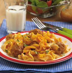 Guaranteed to please the kids! #Meatballs and #noodles are baked in a mildly…