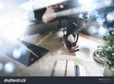 Man Using Voip Headset With Digital Tablet Computer Docking Keyboard, Concept Communication, It Support, Call Center And Customer Service Help Desk,Filter Film Effect Стоковые фотографии 498248620 : Shutterstock