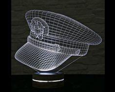 3D LED Lamp, Police Cap Shape, Decorative Lamp, Home Decor, Table Lamp, Office Decor, Plexiglass Art, Art Deco Lamp, Acrylic Night Light by ArtisticLamps