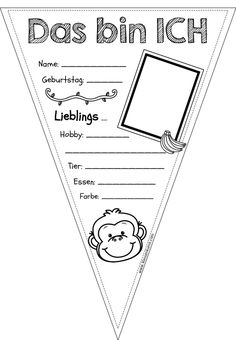 All About Me Pennant Monkey Version - Schulanfang Beginning Of School, Primary School, Back To School, Classroom Organisation, Classroom Management, Portfolio Kindergarten, Kindergarten Coloring Pages, American Heritage Girls, German Language Learning