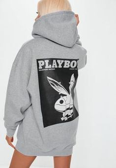 Playboy X Missguided Gray Bunny Print Hoodie Dress. Order today & shop it like it's hot at Missguided. Grey Hoodie, Cropped Hoodie, Sweater Hoodie, Slogan T Shirt Dress, Oversized Hoodie Dress, Jumper Dress, Trendy Hoodies, Looks Chic, Cute Casual Outfits