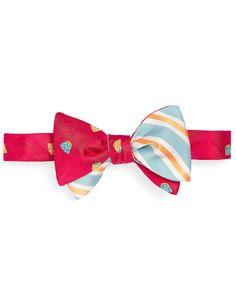 Social Primer Reversible Bow Tie: Hawaiian Shortsand Satin Oxford Stripe   Brooks Brothers