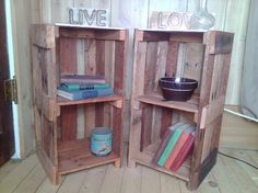 rustic pallet end table night stand by JoJoBeesbarn on Etsy, $115.00