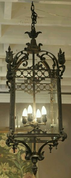 Exceptional French Gabriel Lantern With Beveled Glass Supported By A Cast Brass Frame This Features Four Candelabra Based Sockets