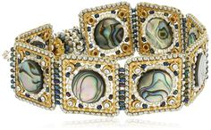 Miguel Ases Abalone and Swarovski Square Linked Magnetic Bracelet. Abalone magnetic bracelet. Made in United States.