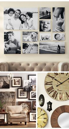 Love the picture layout for family pics! use vacay pics... love the clocks.. maybe on the closet wall?