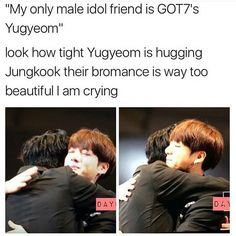 this reminds me of another pin:: Jungkook: Who are you? Yugyeom: Im you but from Jungkook: . Bts Memes, Got7 Meme, Kdrama Memes, Funny Memes, Jikook, Got7 Yugyeom, Youngjae, Bts Jungkook, K Pop