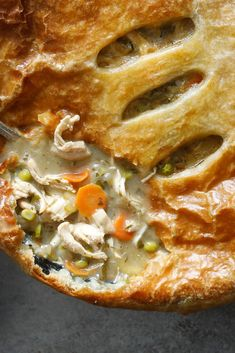 NYT Cooking: Using store-bought puff pastry instead of homemade pie crust for a chicken potpie might seem like cheating, but rest assured it's for the best, adding shatteringly flaky layers that even the best pie crust lacks. This recipe calls for bone-in, skin-on chicken breasts or thighs, so that the chicken fat rendered from searing can serve as the base of the gravy. But for a weeknight-friendly version...