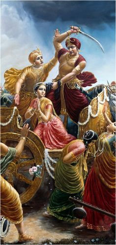 "Ch.1 The Advent of Lord Krishna: ""Kamsa was driving the chariot and controlling the reins with his left hand, but as soon as he heard the omen that his sister's eighth child would kill him, he gave up the reins, caught hold of his sister's hair, and with his right hand took up a sword to kill her."