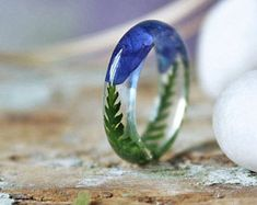 Blue resin ring Fern ring Real blue Lobelias flower Nature resin ring Real plant jewelry Forest Jewelry Stacking ring Gifts for her
