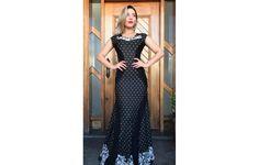 Vestido Manuela em Viscolycra Preto Estampado em P&B - 4377