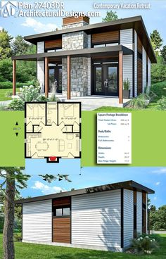 Architectural Designs Modern House Plan 22403DR gives you 680+ square feet of heated living space. Ready when you are! Where do YOU want to build? #22403dr #adhouseplans #architecturaldesigns #houseplan #architecture #newhome #newconstruction #newhouse #homedesign #dreamhome #dreamhouse #homeplan #architecture #architect #housegoals #tinyhouse #modernhouse #modernhome