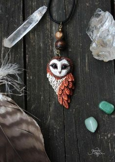 Barn Owl pendant - necklace - picture jasper bead jewelry - forest spirit animal - owl amulet - wiccan - nature - polymer clay - ooak by GloriosaArt