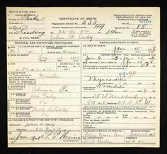 John W Earley discovered in Pennsylvania, Death Certificates, 1906-1964