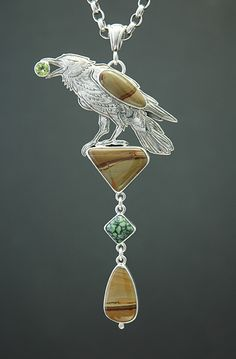 Kit Carson::Tiger Eye and Sterling Silver Pendant