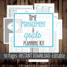 Printable Daily Planner, Monthly, Weekly, To Do List, Calendar-Time Management & Goals Planning Kit-9 Sheets-Blue-INSTANT and EDITABLE