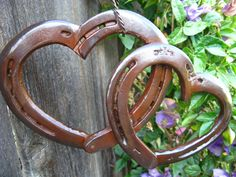 Two Hearts As One Rusted Horse Shoe Wall Art by CaseyLeeCrafts