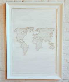String art is nice to look at but even more fun to create yourself. An easy image only takes an hour, a world map takes a little more time... Here's how I did it!