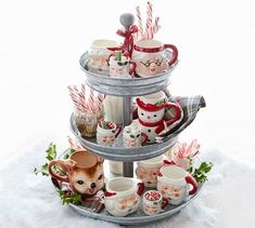 Christmas kitchen table centerpiece - hit chocolate tower Galvanized Metal Tiered Stand #potterybarn Christmas Icons, Christmas Mugs, Rustic Christmas, All Things Christmas, Christmas Holidays, Christmas Decorations, Christmas Ornaments, Farmhouse Christmas Kitchen, Cute Christmas Ideas